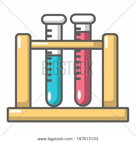 Medical test tubes in holder icon. Cartoon illustration of medical test tubes in holder vector icon for web design
