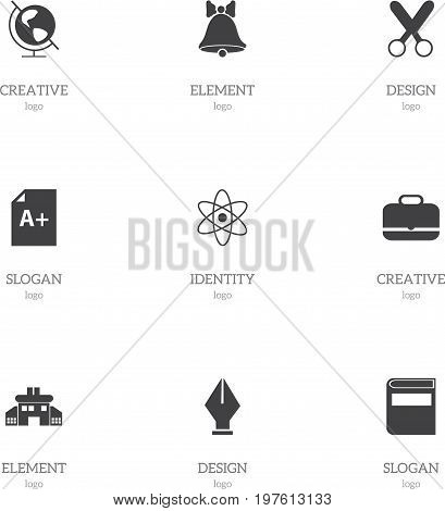 Set Of 9 Editable Education Icons. Includes Symbols Such As Jingle, Earth Planet, Nib And More