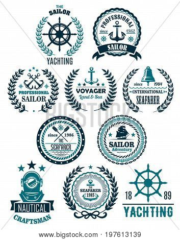 Yachting and nautical seafarer adventure heraldic icons set. Vector isolated badges of ship anchor or helm, navy captain compass or wind rose and laurel wreath on stars for sailor voyager club