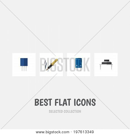 Flat Icon Electronics Set Of Destination, Transistor, Receptacle And Other Vector Objects