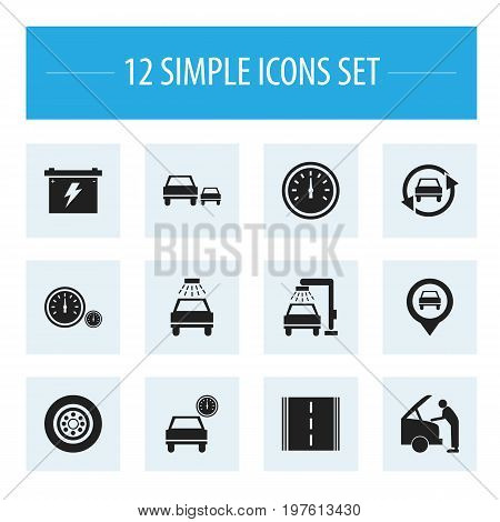 Set Of 12 Editable Vehicle Icons. Includes Symbols Such As Vehicle Wash, Battery, Odometer And More