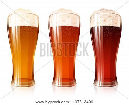 Glass of beer with a varieties of foamy Beer Light Lager Cool Red Dark Porter; High detailed realistic vector icon set for a brewing theme. No Mesh.