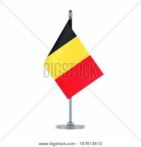 Belgian Flag Hanging On The Metallic Pole, Vector Illustration