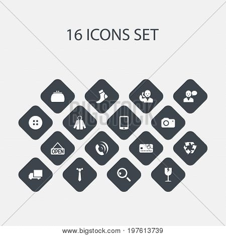 Set Of 16 Editable Shopping Icons. Includes Symbols Such As Telephone, Hosiery, Sheath And More