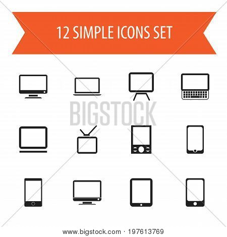 Set Of 12 Editable Gadget Icons. Includes Symbols Such As Tv, Computer, Notebook And More