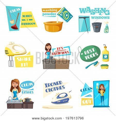 Housework washing, cleaning and laundry flat icons set. Vector housewife woman mopping, wash and clean windows and kitchen dishes tableware with detergent, iron linen clothes and cooking food