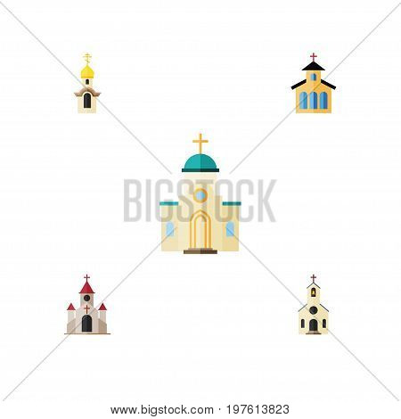 Flat Icon Christian Set Of Building, Religious, Structure And Other Vector Objects