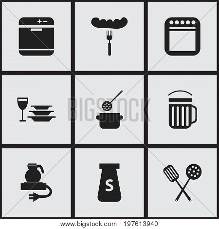 Set Of 9 Editable Restaurant Icons. Includes Symbols Such As Electric Kettle, Ale, Skimmer And More