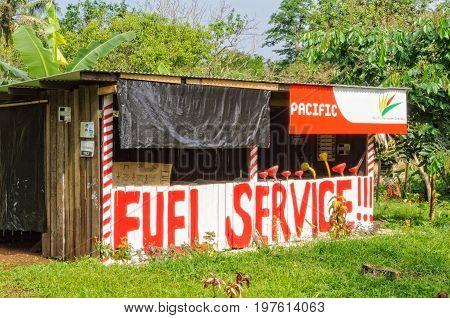 No-frills fuel service along the sealed road between Luganville and Port Olry - Espiritu Santo Vanuatu, 26 September 2012
