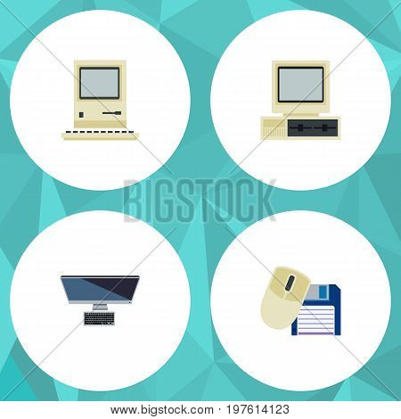 Flat Icon Computer Set Of PC, Computer Mouse, Computer And Other Vector Objects