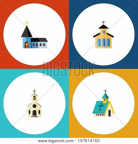 Flat Icon Christian Set Of Architecture, Catholic, Building And Other Vector Objects