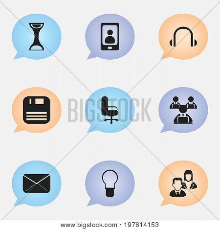 Set Of 9 Editable Bureau Icons. Includes Symbols Such As Earphone, Diskette, Telephone And More