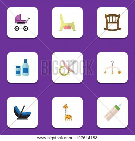 Flat Icon Infant Set Of Toy, Pram, Infant Cot And Other Vector Objects