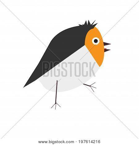 Cute small walking baby bird. Simple Childish geometric Vector Illustration in a flat cartoon style.
