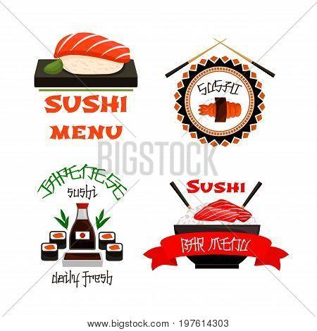 Sushi bar icons for Japanese restaurant cuisine menu template. Vector set of sushi roll, green tea or tempura shrimp, salmon fish maki or seafood noodle soup or rice bowl of tuna sashimi, chopsticks