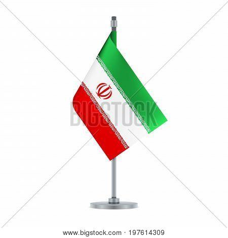 Iranian Flag Hanging On The Metallic Pole, Vector Illustration