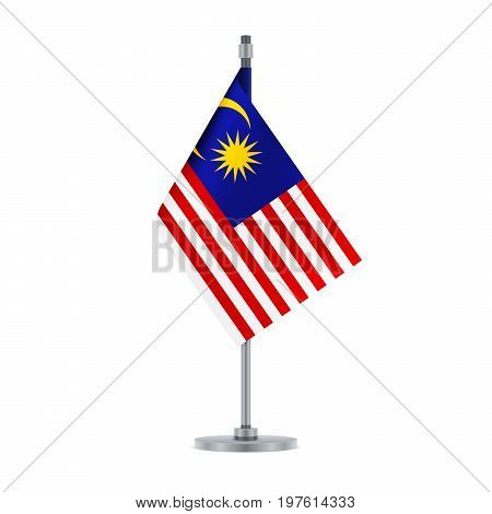 Malaysian Flag Hanging On The Metallic Pole, Vector Illustration