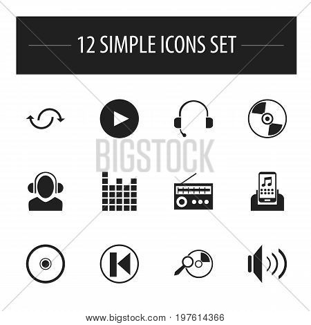 Set Of 12 Editable Sound Icons. Includes Symbols Such As Melody Seeking, Disc, Mixing And More