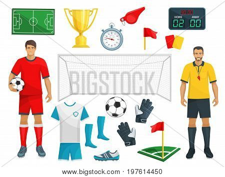 Football or soccer sport game vector isolated icons set of footballer player, referee whistle or red card, goalkeeper gates and football ball, flag on field and boots or sneakers with score timetable