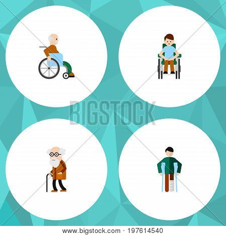 Flat Icon Disabled Set Of Injured, Disabled Person, Ancestor And Other Vector Objects