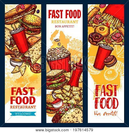 Fast food banners set of pizza, cheeseburger or hamburger and hot dog, french fries or tacos and chicken nuggets. Vector coffee or soda drinks and ice cream dessert for fastfood restaurant meals menu