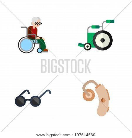 Flat Icon Cripple Set Of Spectacles, Audiology, Equipment And Other Vector Objects