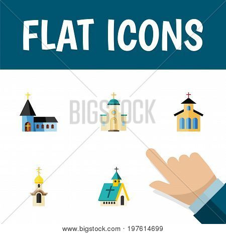 Flat Icon Christian Set Of Religious, Structure, Christian And Other Vector Objects