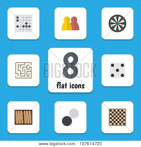 Flat Icon Play Set Of Arrow, Chequer, Dice And Other Vector Objects