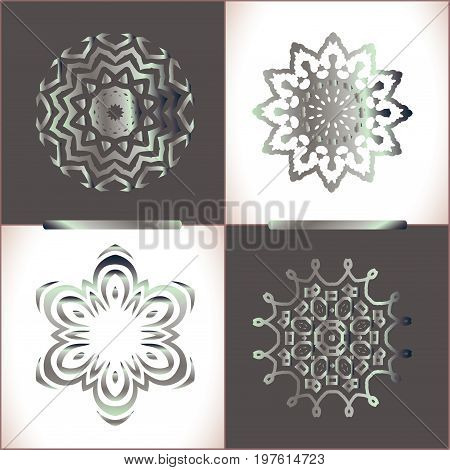 Silver Lace Ornament. Round Lace Pattern Set
