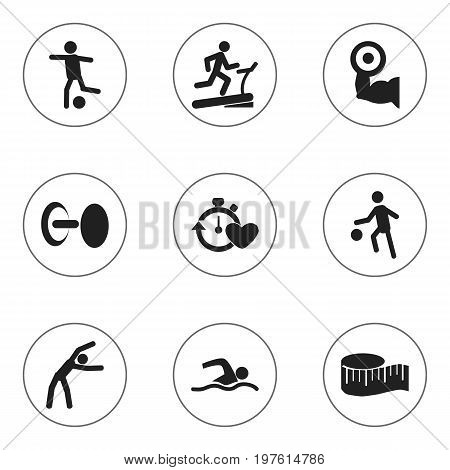 Set Of 9 Editable Active Icons. Includes Symbols Such As Sportsman, Training Pool, Health Time And More