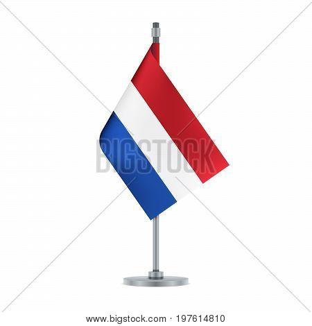 Dutch Flag Hanging On The Metallic Pole, Vector Illustration