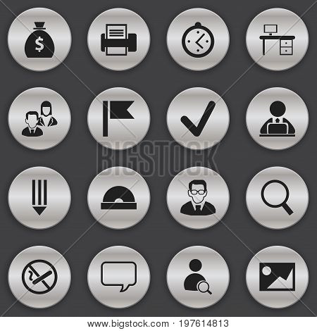 Set Of 16 Editable Bureau Icons. Includes Symbols Such As Pencil, Loupe, Watch And More