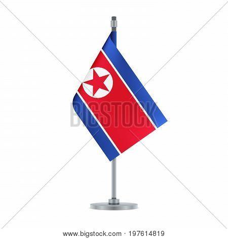 North Korean Flag Hanging On The Metallic Pole, Vector Illustration