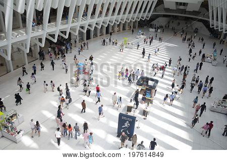 June 11 2017. New York City New York. People walking around within the newly completed world trade center transportation hub building in Manahattan in New York City.