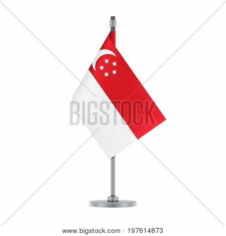 Singaporean Flag Hanging On The Metallic Pole, Vector Illustration