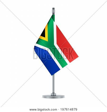 South African Flag Hanging On The Metallic Pole, Vector Illustration