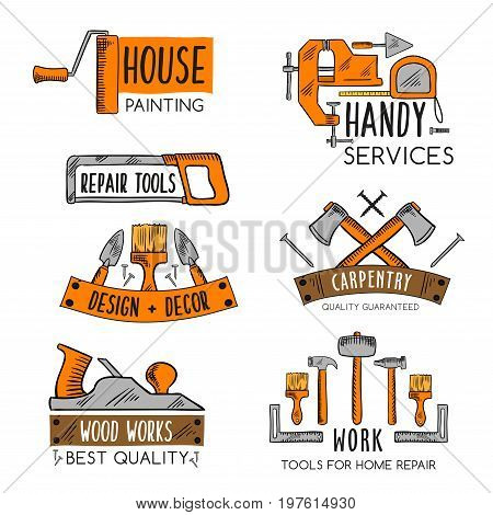 Home repair or handy service vector icons templates set of construction and carpentry or house finishing work tools of painting brush or hammer, screwdriver or wrench and vise or plane and trowel