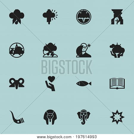 Set Of 16 Editable Dyne Icons. Includes Symbols Such As Begging, Gospel, Friar And More