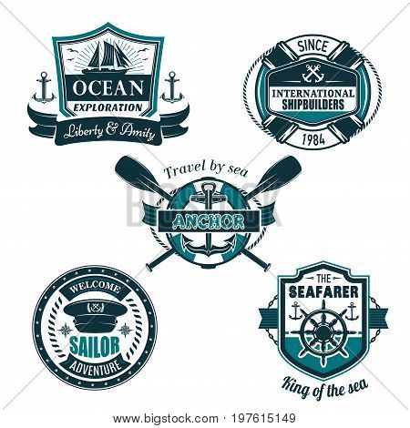 Marine travel and sailor or seafarer sailing heraldic vector icons set of ship anchor, helm or crossed vessel paddles, captain hat and life buoy on ocean or sea waves with ribbons and seagulls