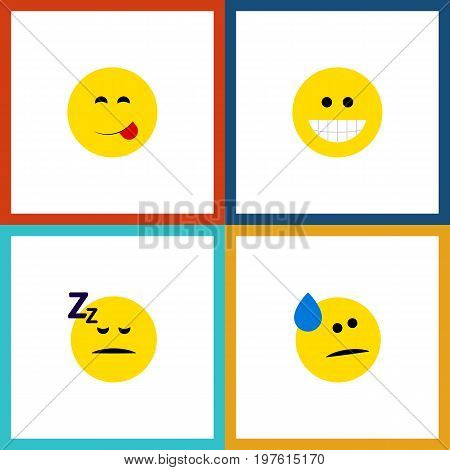 Flat Icon Emoji Set Of Grin, Delicious Food, Asleep And Other Vector Objects