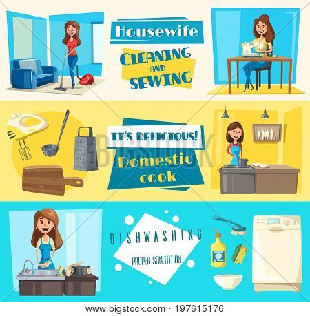 Housework washing, sewing or cleaning and dishwashing banners set. Vector housewife woman with vacuum cleaner or sewing machine, wash dishes tableware saucepan, grater, spoon or fork in kitchen washer