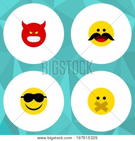 Flat Icon Gesture Set Of Pouting, Hush, Cheerful And Other Vector Objects