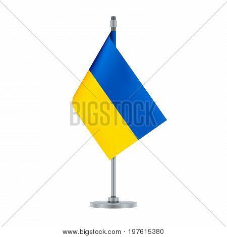 .ukrainian Flag Hanging On The Metallic Pole, Vector Illustration