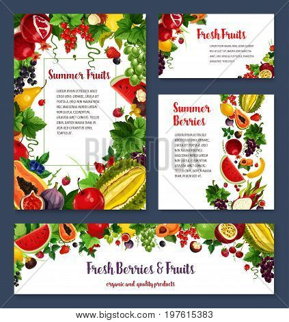 Fruits and berries banners or posters templates. Vector set of exotic durian, mango or papaya and watermelon, black currant, cherry and apple or garnet, peach, banana fruit and grape berry or plum