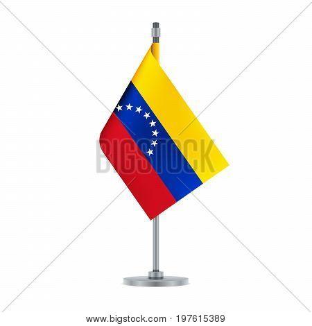 Venezuelan Flag Hanging On The Metallic Pole, Vector Illustration