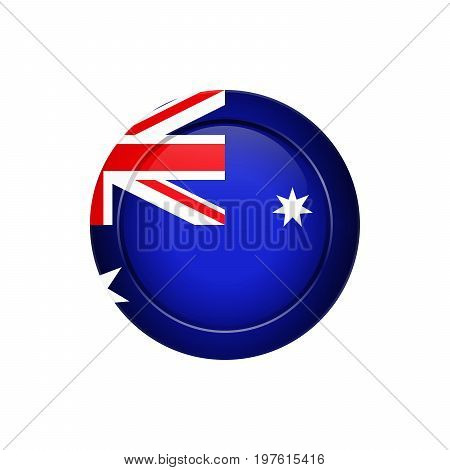 Australian Flag On The Round Button, Vector Illustration