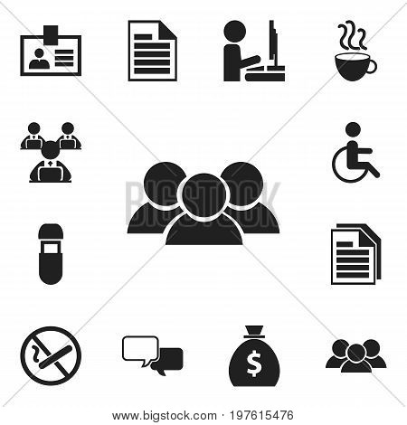 Set Of 12 Editable Bureau Icons. Includes Symbols Such As Smoking Forbidden, Usb, Sheets And More