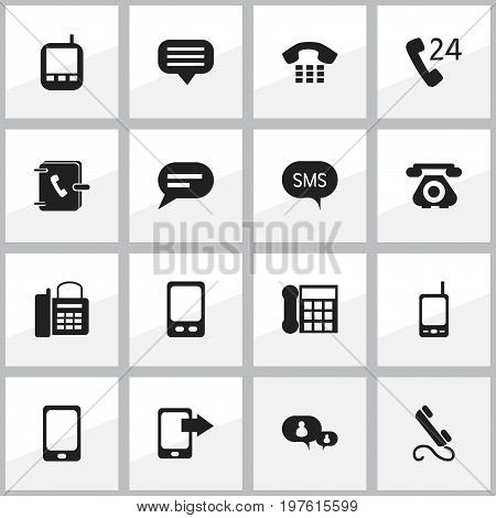 Set Of 16 Editable Phone Icons. Includes Symbols Such As Comment, Share Display, Transceiver And More