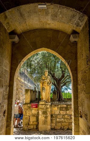 Knight At The Entrance Of The Alcazar De Los Reyes Cristianos Palace In Cordoba, Spain, Europe