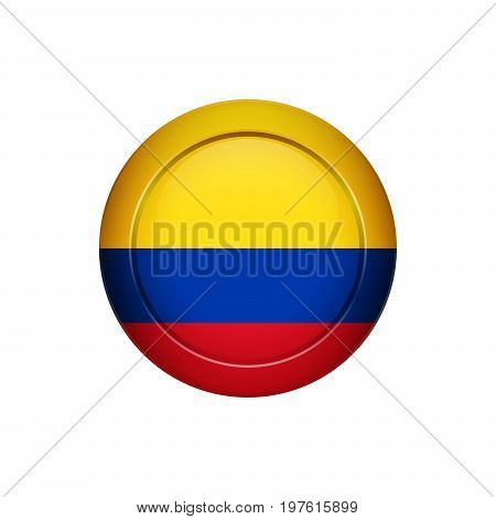 Colombian Flag On The Round Button, Vector Illustration